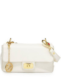 Love Moschino Saffiano Owl Handle Faux Leather Shoulder Bag White