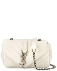 Saint Laurent V Flap Calfskin Leather Mini Crossbody Chain Bag White