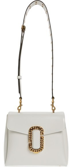 Marc Jacobs St Marc Calfskin Leather Shoulder Bag White