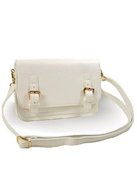 TheDapperTie White Crossbody Gold Toned Hardware Handbag A128