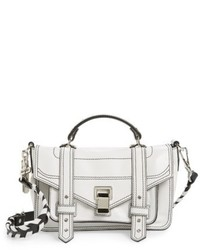 Proenza Schouler Tiny Ps1 Calfskin Leather Satchel With Novelty Shouldercrossbody Strap White