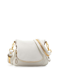 Tom Ford Jennifer Medium Leather Crossbody Bag White