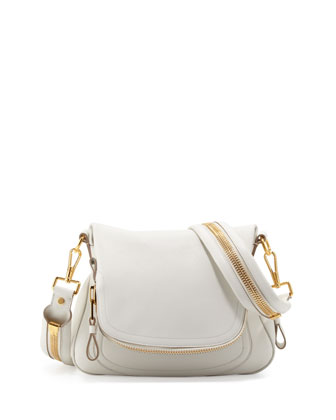 Tom Ford Jennifer Medium Leather Crossbody Bag White