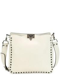 Valentino Rockstud Medium Flip Lock Hobo Bag Ivory