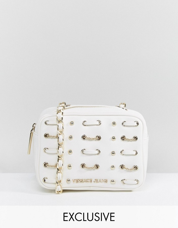 0f2a6521473 Versace Versace Jeans White Woven   Studded Cross Body Bag   Where ...