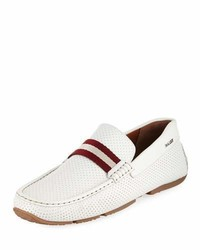 Bally Pearce Perforated Faux Leather Driver White