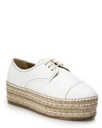 Prada Espadrille Platform Leather Lace Up Shoes