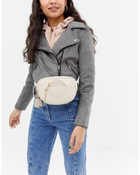 Glamorous Cream Belt Bag With Front Pocket And Chain Detail