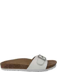 Beston Larch Buckle Slide Taupebrown Faux Leather Sandals