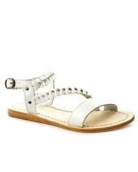 Bronx Just Kick It White Leather Sandals