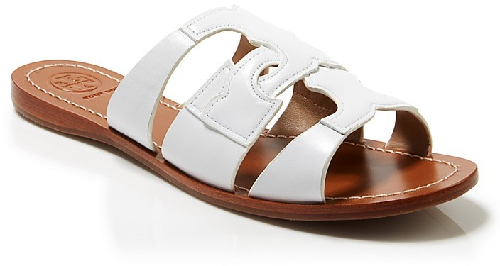 03f2f4ce3 ... White Leather Flat Sandals Tory Burch Flat Slide Sandals Anchor ...