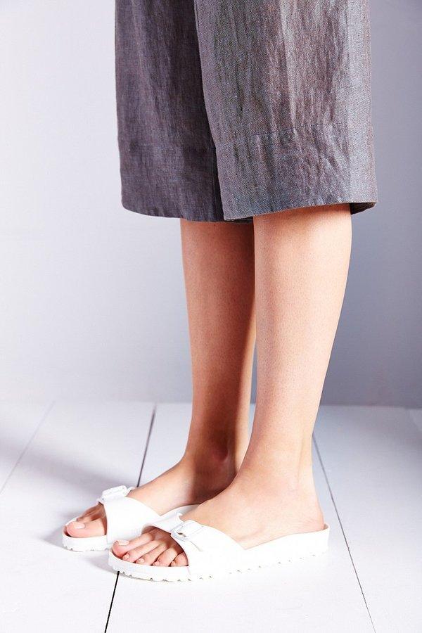 627ba040f7e ... White Leather Flat Sandals Birkenstock Madrid Eva Slide ...