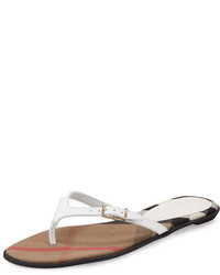 Burberry Meadow Leather Thong Sandal Optic White