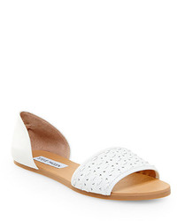 e672e82d3e5 Women's White Leather Flat Sandals by Steve Madden | Women's Fashion ...
