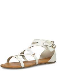 Dorothy Perkins Wide Fit White Gladiator Flat Sandals