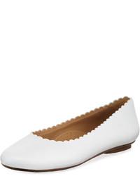 Neiman Marcus Sekia Smooth Scalloped Flat White