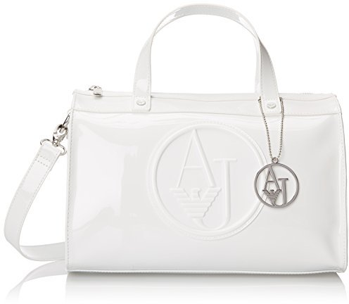 Rj Patent Bowler Top Handle Bag. White Leather Handbag by Armani Jeans f9f38e1a531a6