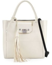 Jimmy Choo Robin Studded Leather Tote Bag White