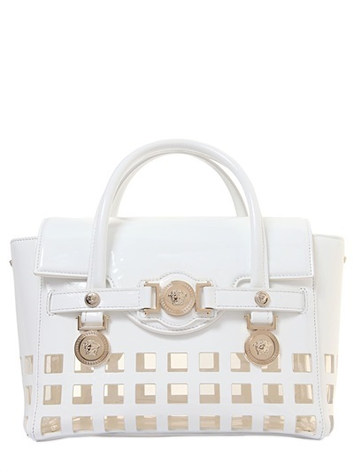 10db7ddbba ... Versace Signature Patent Leather Top Handle Bag ...