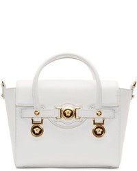 Versace White Leather Gold Medallion Shoulder Bag