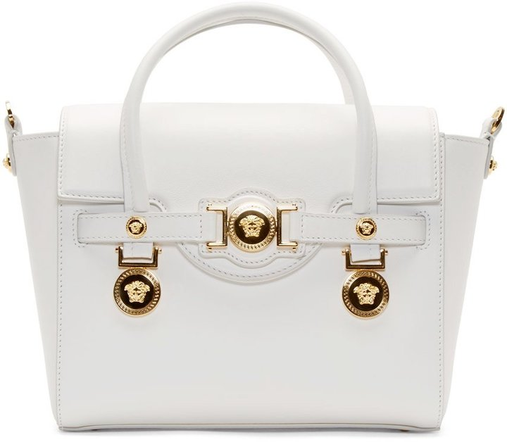 Versace White Leather Gold Medallion Shoulder Bag