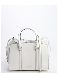 Burberry White Patent Leather Dinton Convertible Top Handle Bag