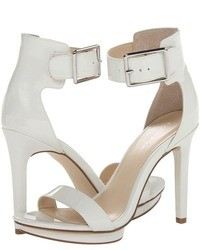 White Leather Heeled Sandals