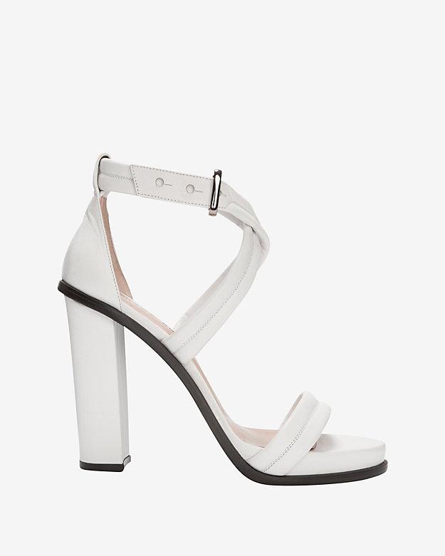 ... Barbara Bui Cross Strap Chunky Heel Sandal White ...
