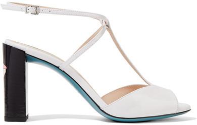 6998604168 Fendi Patent Leather T Bar Sandals White, $750 | NET-A-PORTER.COM ...