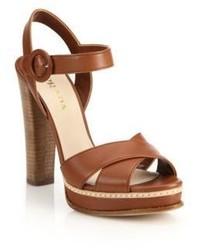 12bc7a71de3 ... Prada Stacked Heel Leather Platform Sandals