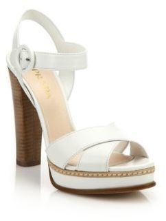 b55fde66d10 ... Prada Stacked Heel Leather Platform Sandals ...