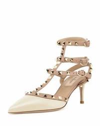 Valentino Rockstud Patent Leather Mid Heel Slingback Ivorypoudre
