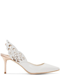 Sophia Webster White Angelo Mid Slingback Heels