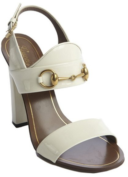 08ab65d40232fa Gucci White Patent Leather Horsebit Block Heel Sandals