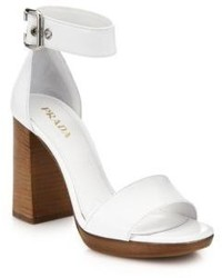 Prada Wooden Heeled Leather Sandals
