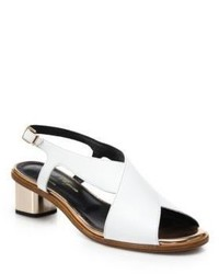 Robert Clergerie Zimola Leather Block Heel Slingback Sandals