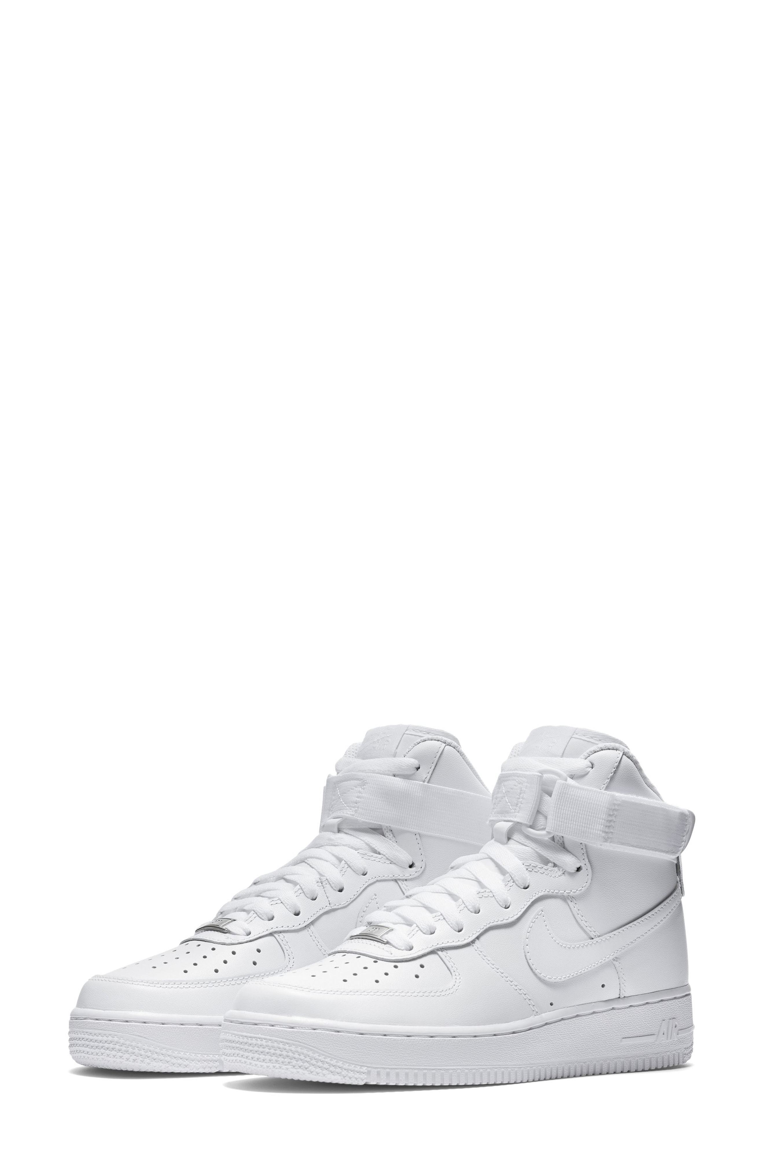 finest selection 314f2 12f28 ... White Leather High Top Sneakers Nike Air Force 1 High Top Sneaker