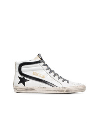 Golden Goose Deluxe Brand Black And White Slide Leopard Lace Leather High Top Sneakers