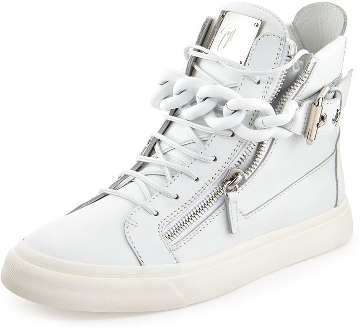55d7b9202fe8e ... Giuseppe Zanotti Chain Zipper Leather High Top Sneaker White ...