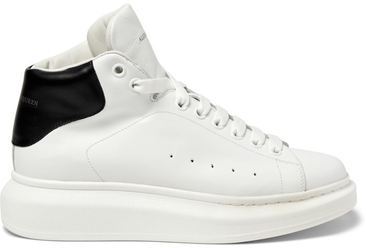 ... Alexander McQueen Exaggerated Sole Leather High Top Sneakers ... 98d2ed4e5dbb