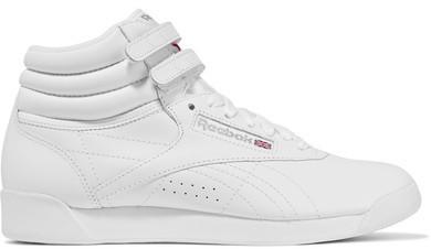 21bfec06e2 $70, Reebok Freestyle Leather High Top Sneakers White