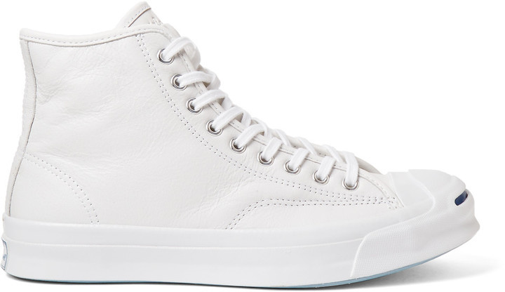 6e42d014cff1 ... White Leather High Top Sneakers Converse Jack Purcell Signature Leather  High Top Sneakers ...