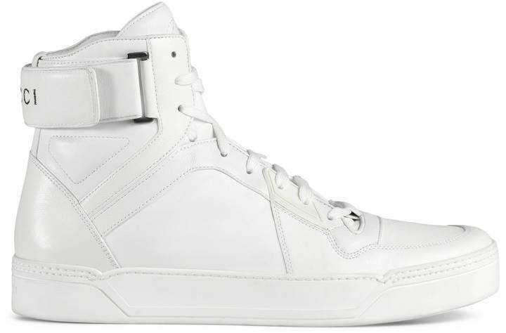 55e6a17bdcc Gucci Leather High Top Sneaker, $840 | Gucci | Lookastic.com