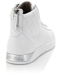 8a97804a5b ... Diesel Quilted Leather High Top Sneakers ...