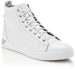e644a54c92 ... Saks Fifth Avenue › Diesel › White Leather High Top Sneakers Diesel  Quilted Leather High Top Sneakers ...