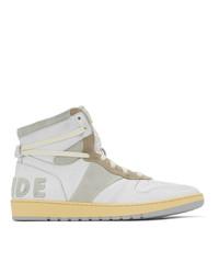 Rhude White And Grey Bball Hi Sneakers