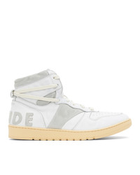 Rhude White And Grey Rhecess Hi Sneakers