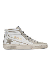 Golden Goose White And Grey Slide High Top Sneakers