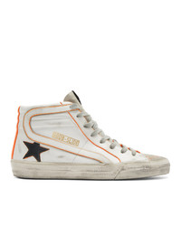 Golden Goose White And Orange Slide High Top Sneakers