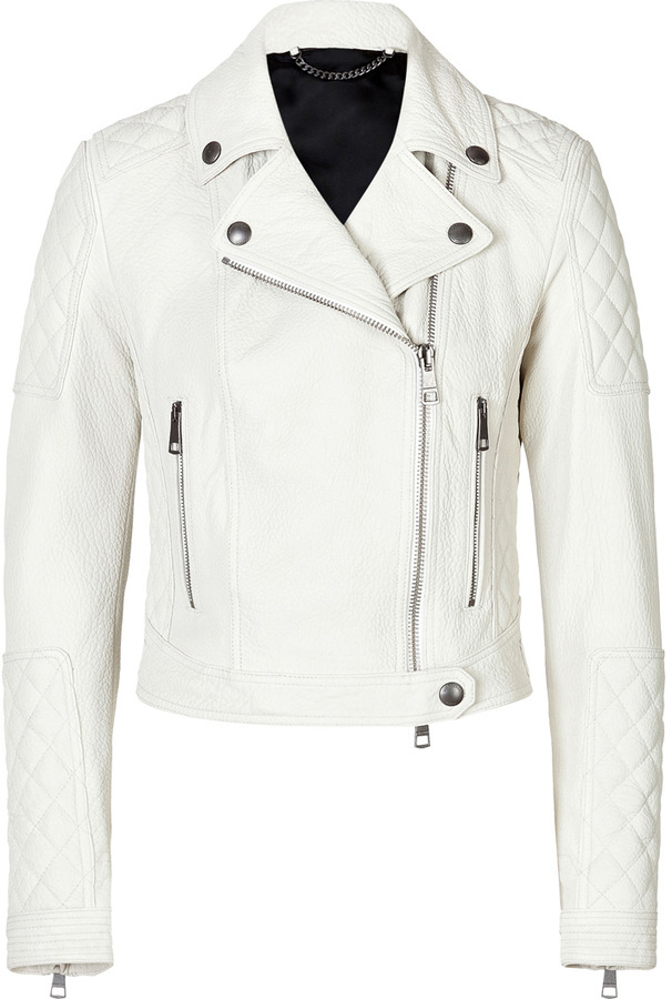 Black and white leather motorcycle jacket